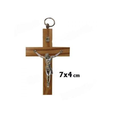 Cruz Madera Olivo c: Cristo 7 cm