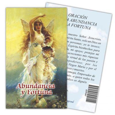 Estampa Oracion de la Abundancia y Fortuna 7 x 11 cm
