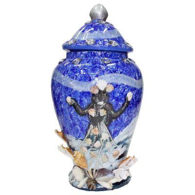 Tibor Ceramica Decorado con Caracolas Dibujo Yemanja 50 x 23 cm Azul Artesanal Puede cambiar el diseño y dibujo