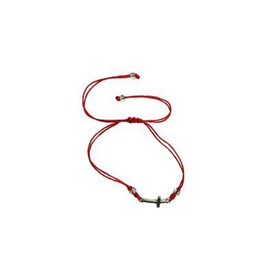 pulsera hilo rojo con cruz